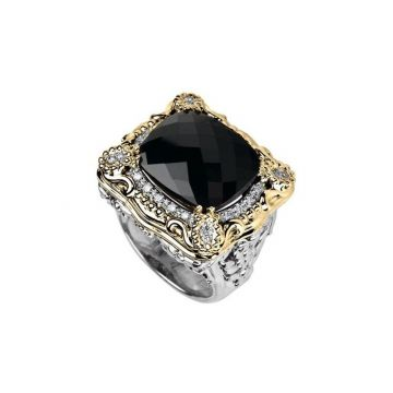 Vahan 14k Yellow Gold & Sterling Silver Onyx Ring
