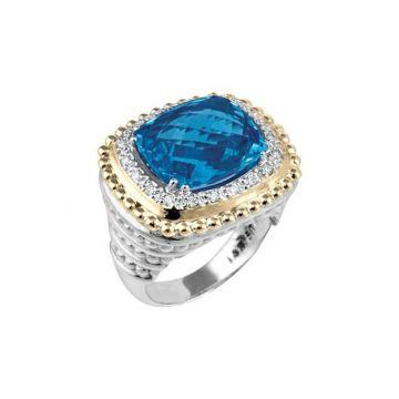 Vahan 14k Yellow Gold & Sterling Silver London Blue Topaz Ring