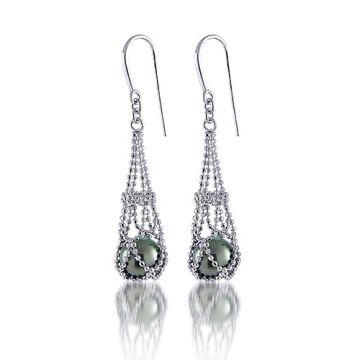 Imperial Pearl Sterling Silver Tahitian Pearl Lace Earrings