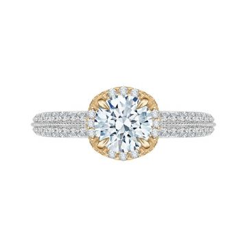 Shah 14k White and Yellow Gold Carizza Floral Diamond Engagement Ring