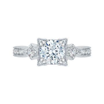 Shah 14k White Gold Carizza Vintage Diamond Engagement Ring