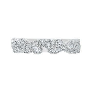 Shah Luxury 14k White Gold Diamond Wedding Band