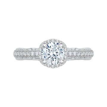 Shah 14k White Gold Carizza Floral Diamond Engagement Ring