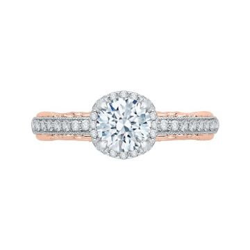 Shah 14k White and Rose Gold Carizza Floral Diamond Engagement Ring