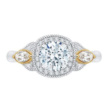 Shah Luxury 14k Two Tone Gold Diamond Semi-Mount Engagement Ring