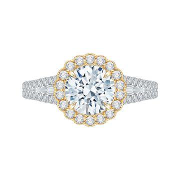 Shah Luxury 14k Two Tone Gold Diamond Semi-Mount Engagement Ring