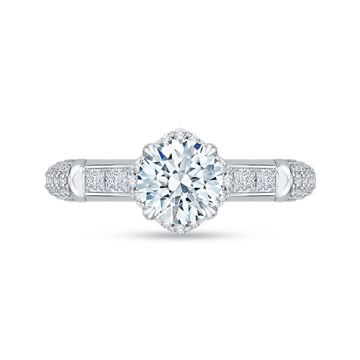 Shah Luxury 18k White Gold Diamond Carizza Semi Mount Engagement Ring fit Round Center