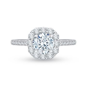 Shah Luxury 18k White Gold Diamond Carizza Semi Mount Engagement Ring fit Round Center