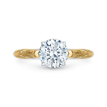Shah Luxury 18k Two-Tone Gold Carizza Semi Mount Engagement Ring to fit Round Center