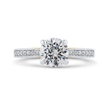 Shah 14k White and Yellow Gold Carizza Semi-Mount Diamond Engagement Ring