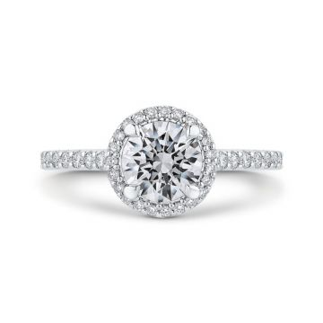 Shah 14k White Gold Carizza Halo Diamond Engagement Ring