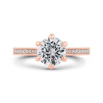 Shah 14k Rose Gold Carizza Semi-Mount Diamond Engagement Ring