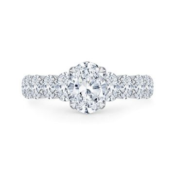 Shah Luxury 18k White Gold Diamond Carizza Semi Mount Engagement Ring fit Oval Center
