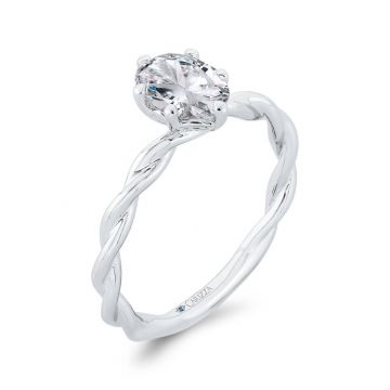 Shah 14k White Gold Carizza Solitaire Engagement Ring