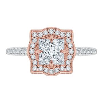 Shah 14k White and Rose Gold Carizza Vintage Diamond Engagement Ring
