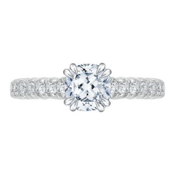 Shah 14k White Gold Carizza Cathedral Diamond Engagement Ring