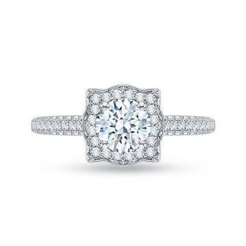 Shah Luxury 18k White Gold Diamond Promezza Engagement Ring with Round Center