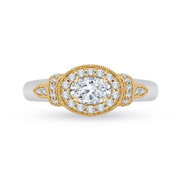 Shah Luxury 18k Two-Tone Gold Diamond Promezza Engagement Ring with Round Center