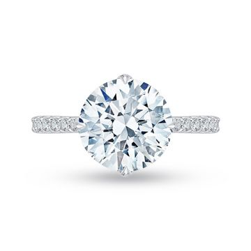 Shah Luxury 18k White Gold Diamond Carizza Boutique Semi Mount Engagement Ring fit Round Center