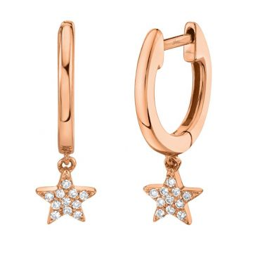 Shy Creation Rose 14K Gold 0.04Ct Diamond Star Huggie Earring
