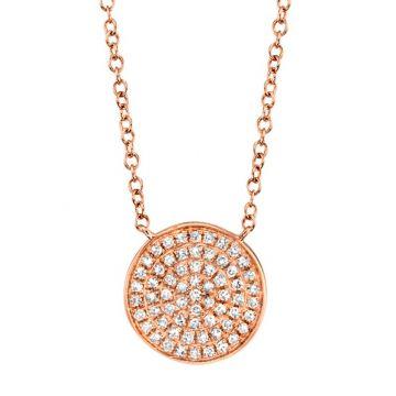 Shy Creation 14k Rose Gold Diamond Necklace