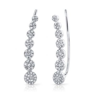 Shy Creation 14k White Gold Earrings