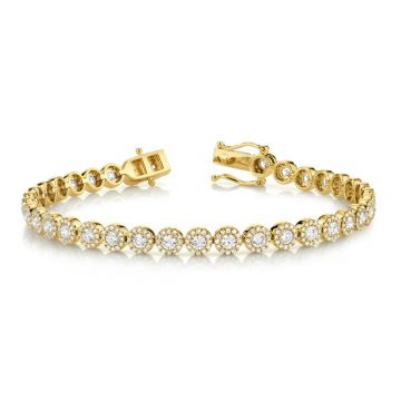 Shy Creation 14k Yellow Gold Diamond Tennis Bracelet