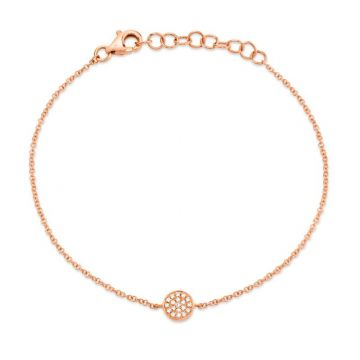 Shy Creation 14k Rose Gold Diamond Bracelet