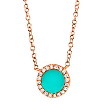 Shy Creation 14k Rose Gold Diamond and Gemstone Necklace