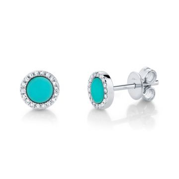 Shy Creation 14k White Gold Diamond and Gemstone Stud Earrings