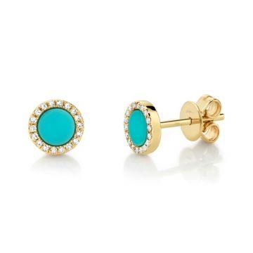 Shy Creation 14k Yellow Gold Diamond and Gemstone Stud Earrings