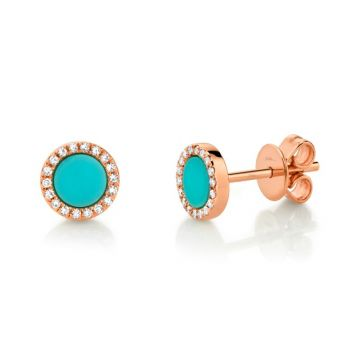 Shy Creation 14k Rose Gold Diamond and Gemstone Stud Earrings