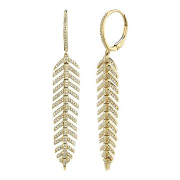 Shy Creation Yellow 14K Gold 0.60Ct Diamond Feather Earring