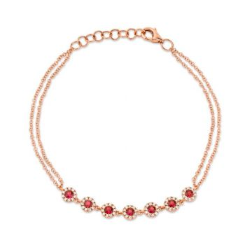 Shy Creation 14k Rose Gold Diamond and Gemstone Bracelet