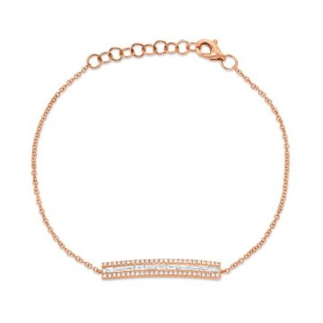 Shy Creation 14k Rose Gold Diamond Bracelet