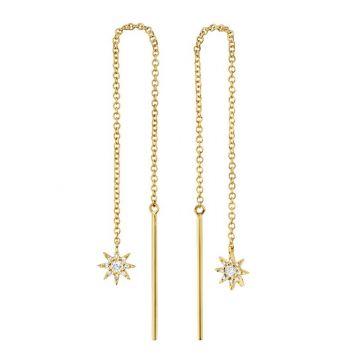 Shy Creation 14k Yellow Gold Diamond Drop Earrings
