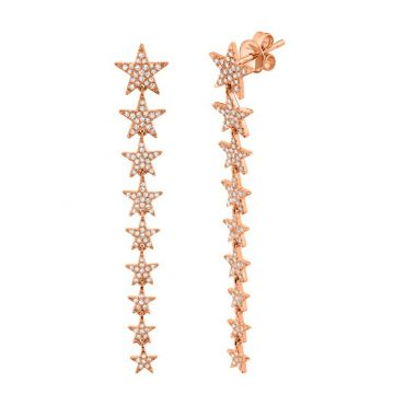 Shy Creation 14k Rose Gold Diamond Drop Earrings