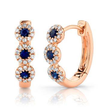 Shy Creation 14k Rose Gold Diamond and Gemstone Huggy Earrings