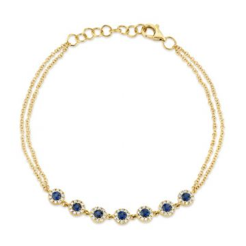 Shy Creation 14k Yellow Gold Diamond and Gemstone Bracelet