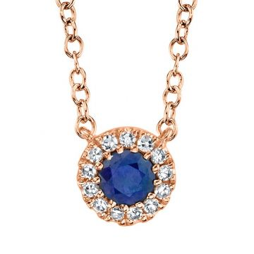 Shy Creation 14k Rose Gold Diamond and Gemstone Pendant