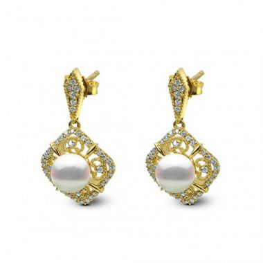 Imperial Pearl 14K Yellow Gold Akoya Pearl Earring