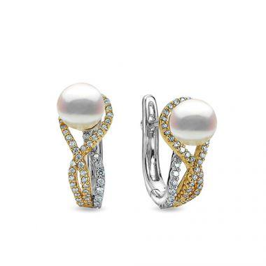 Imperial Pearl 14k Two Tone Gold Akoya Pearl Earring