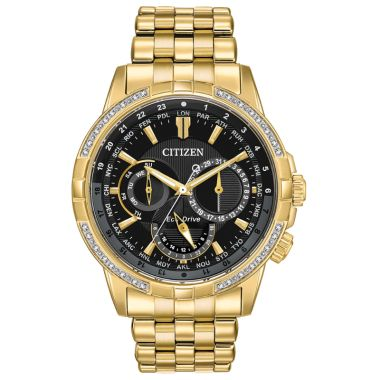 Citizen Eco-Drive Calendrier Stainless Steel Gold-Tone 44mm Men's Diamond Watch