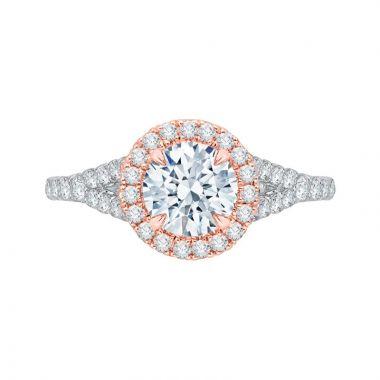 Shah 14k White and Rose Gold Carizza Split Shank Diamond Engagement Ring