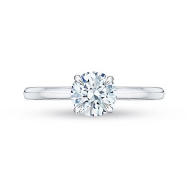 Shah Luxury 18k White Gold Carizza Semi Mount Engagement Ring  Round Center