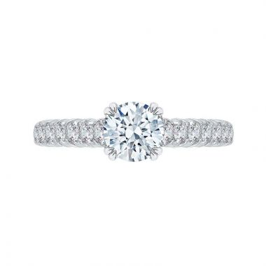 Shah Luxury 18k White Gold Diamond Carizza Semi Mount Engagement Ring to fit Round Center