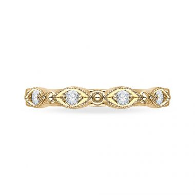 Shah Luxury 18k Yellow Gold Diamond Carizza  Wedding Band