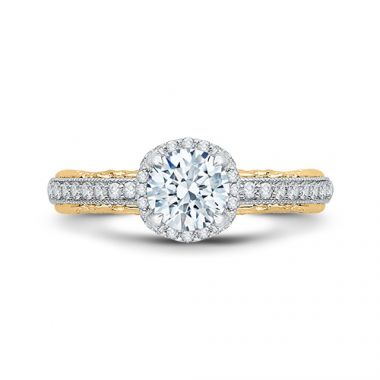 Shah Luxury 18k Two-Tone Gold Diamond Carizza Semi Mount Engagement Ring to fit Round Center