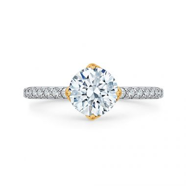 Shah Luxury 18k Two-Tone Gold Diamond Carizza Semi Mount Engagement Ring fit Round Center