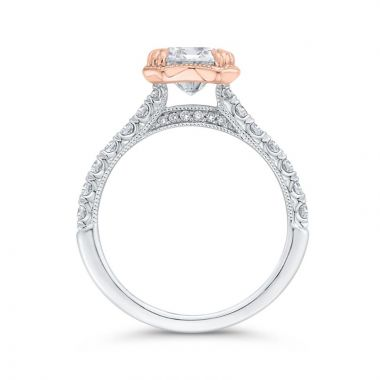 Shah 14k White and Rose Gold Carizza Semi-Mount Diamond Engagement Ring